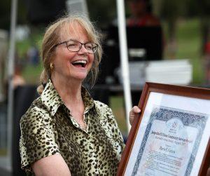 2017 Winner Marcia Gipstein with Award