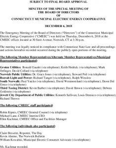 Icon of CMEEC Emergency Board Mtg Minutes 12-06-2018