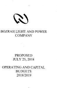 Icon of Bozrah Light and Power Budget - 2019