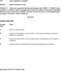 Icon of CMEEC Special Legislative Committee Agenda 11-01-2019