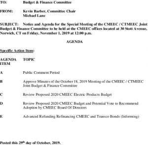 Icon of CMEEC Budget And Finance Committee Special Meeting Agenda 11-01-2019
