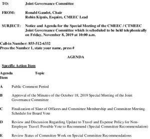 Icon of Special Governance Committee Meeting Agenda 11-08-2019