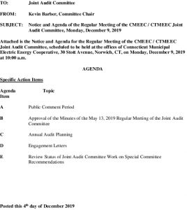 Icon of Joint Audit Committee Meeting Agenda 12-09-2019