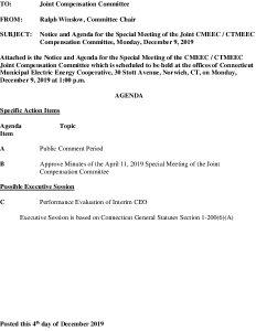 Icon of CMEEC Compensation Committee Agenda 12-09-2019