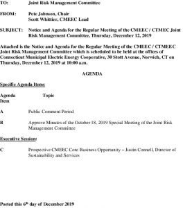 Icon of CMEEC Joint Risk Management Committee Agenda 12-12-2019