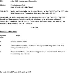 Icon of Joint Risk Management Committee Agenda 12-12-2019 Revised