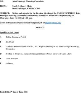 Icon of CMEEC Strategic Planning Committee Agenda 06-10-2021