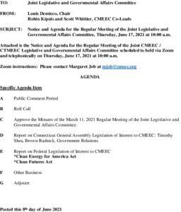 Icon of CMEEC Legislative And Governmental Affairs Committee Meeting Agenda 06-17-2021