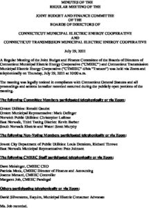 Icon of CMEEC Joint Budget & Finance Committee Minutes 07-29-2021
