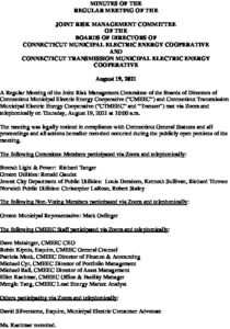 Icon of CMEEC Joint Risk Management Committee Minutes F 08-25-2021